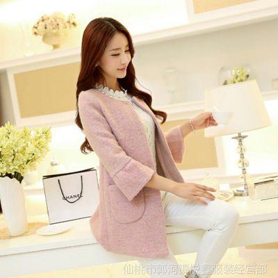 2014新款女装秋装外套韩版领口钉珠中长款呢子大衣毛呢外套女