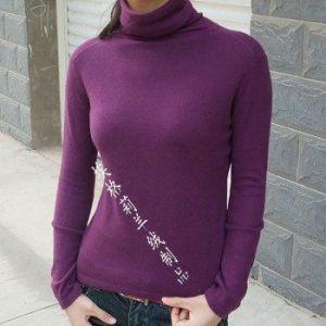 供应新款堆领修身收腰打底衫女士毛衣针织衫羊绒衫