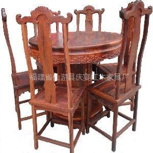 供应大红酸枝圆形餐桌 福建省仙游县庆宴红木家具