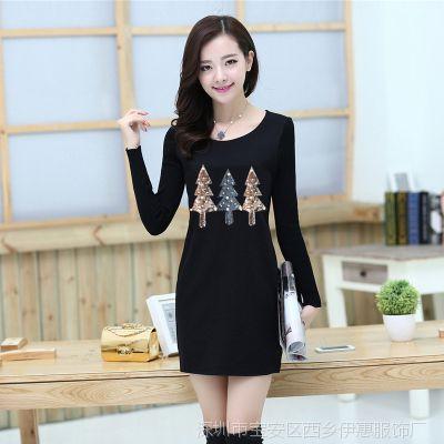 2015春冬新款韩版加绒加厚长袖保暖修身连衣裙甜美中长款打底衫