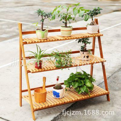 厂家供应 三层100楠竹花架 梯形可折叠批发  实木花盆架盆景架