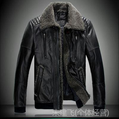 供应2014冬装新款正品头层绵羊皮男式皮衣休身真皮皮夹克批发S-F023
