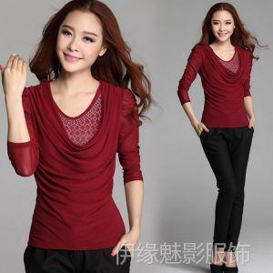 供应6906春装新款韩版时尚烫钻女装长袖t恤大码网纱打底衫T恤衫