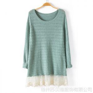 供应秋装新款长袖韩版宽松下摆毛衣针织衫女中长款大码蕾丝拼接打底衫