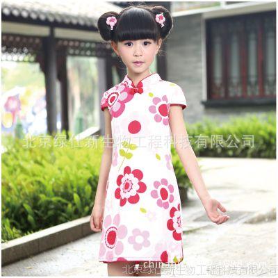 一件代发 新款女童 礼服裙纯棉儿童旗袍夏民族风唐装演出服