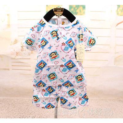 2014夏季男童绵绸薄款短袖套装两件套家居服睡衣品牌同福同富批发