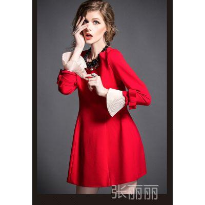 欧美大牌2015春 红色气质长袖修身连衣裙 大码时尚蝴蝶袖女裙