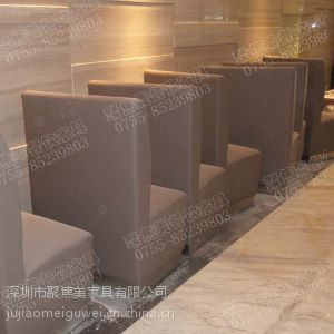 供应定做川菜馆家具 银白色卡座 皮革卡座 深圳聚焦美家具
