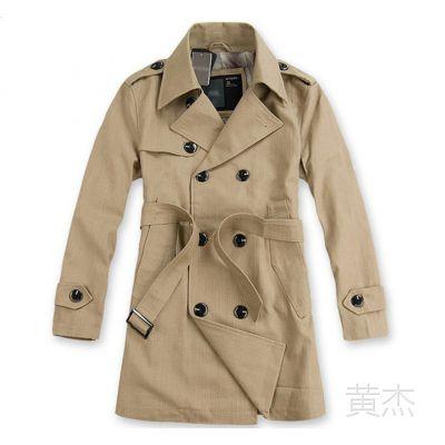 供应专柜爆款超棒版型韩版男装双排扣男式风衣大衣外套现货 8910