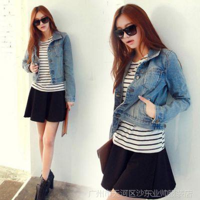 2014新款牛仔外套 韩国时尚百搭帅气 短装牛仔衣女式牛仔外套