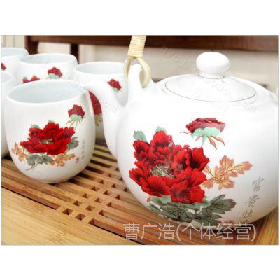 德化  7头吉祥壶提梁茶具套装/亚光釉礼品陶瓷