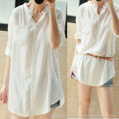 供应2014韩版简约宽松休闲中长款长袖大码白色衬衣衬衫女上装白色