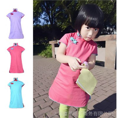 丹凤创意:原创童装--春秋装精致镶边小旗袍--粉天蓝浅紫三色入