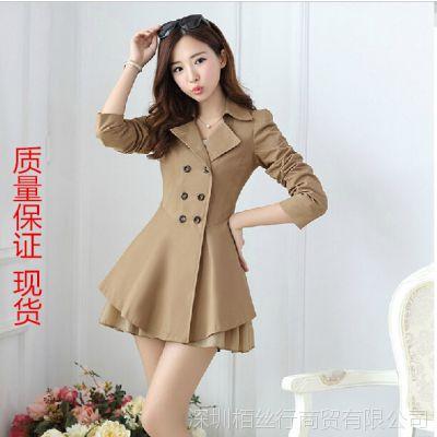 2014新款秋装外套韩版双排扣中长款翻领女风衣外套显瘦女装