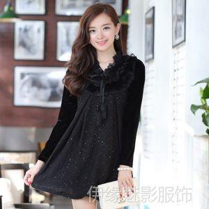 供应6726模特实拍 春装韩版秋冬新款连衣裙 长袖修身连衣裙 兔毛