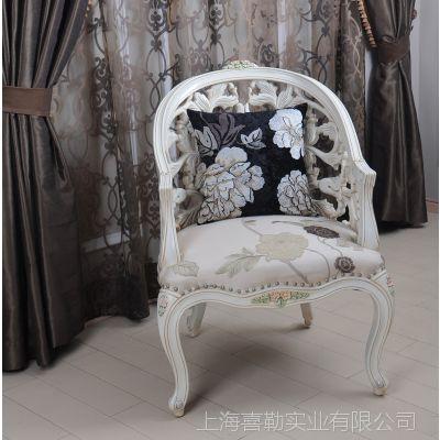 诗兰朵新款 欧式银箔客厅椅卧 实木雕刻奢华镂空含扶手椅子