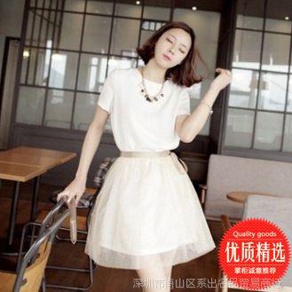 韩版 夏季新款女装大码短袖修身雪纺连衣裙气质A字女士打底裙