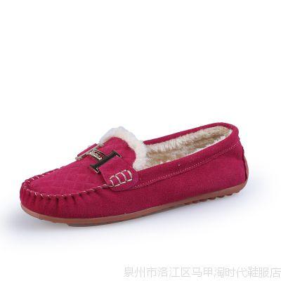 2014冬季新款加棉豆豆鞋妈妈鞋女单鞋休闲平底批发代理加盟女鞋