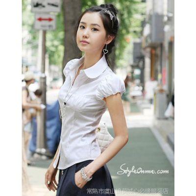 全棉白色衬衫女装时尚修身泡泡袖白色短袖衬衫2014新款短袖衬衫女