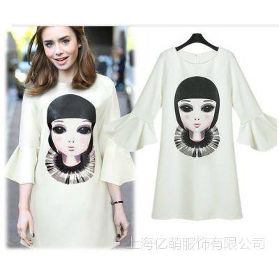 14夏季新款 欧美女装 美女娃娃头像印花时尚喇叭袖连衣裙dm-2940