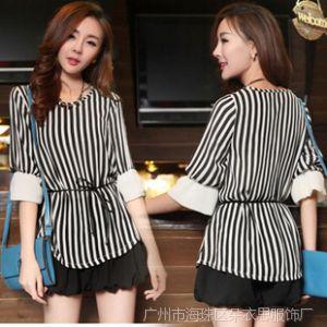 供应2014夏装新款韩版女装修身中长款短袖条纹雪纺衫打底衫 送腰带