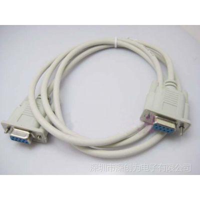 供应1.5米 RS232串口线 母对母 DB9针串口线 2-3交叉
