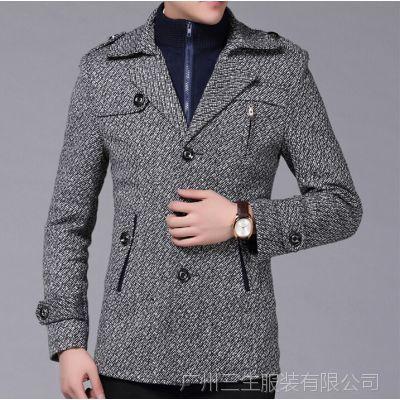 秋冬男式风衣商务休闲修身风衣中长款可卸领毛呢风衣外套男加绒