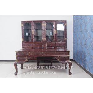 供应大红酸枝书房系列家具榆林红木家具专卖仿古书桌红木书房系列古典家具
