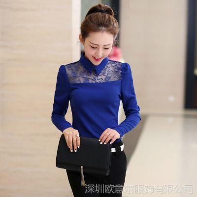 2014秋新款韩版女装翻领蕾丝花边衬衫长袖女士网纱打底小衫