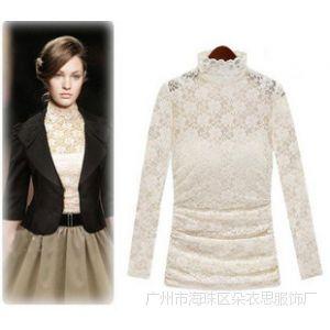 供应2014欧美风格时尚大方蕾丝长袖气质高领蕾丝修身打底衫含吊带