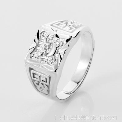 925银男士戒指 招财进宝戒指 银饰批发