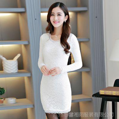 2014冬季新品加绒加厚蕾丝花边打底裙修身保暖包臀圆领气质连衣裙