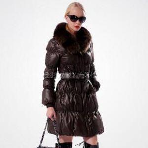 供应2010新款 波司登羽绒服 正品 亮面 女式狐狸毛领中面包 BR1902s