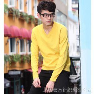 供应厂家一件代发男士V领针织衫男式青春流行秋冬款修身毛衣厚打底衫