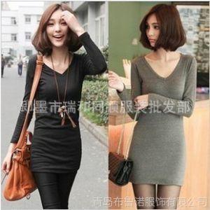 供应2012新款秋装韩版长袖低领T恤V领修身长款包臀纯棉磨毛打底衫