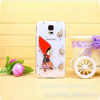 三星S5手机壳 i9600水钻手机保护套 小红帽贴钻外壳清新款木质