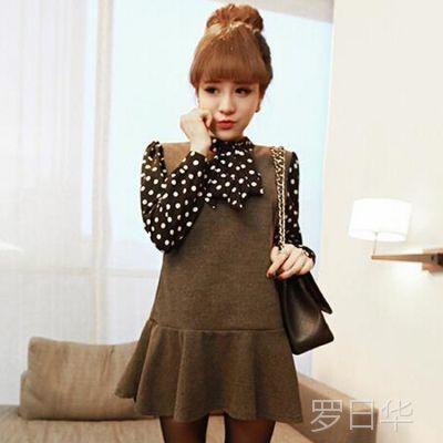 新品2014冬季女装6050#韩版女圆点系带领子拼接呢子收腰连衣裙