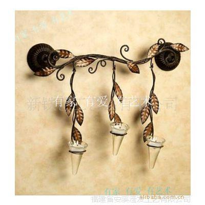 滢发 铁艺 田园风格 壁挂烛台 垂吊烛台 花叶装饰 特色创意1025