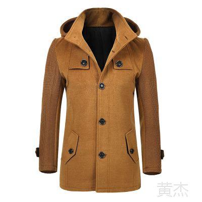 供应时尚休闲男装新品 羊毛呢男式风衣批发 舒美绸里衬尽显档次
