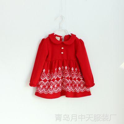儿童2014冬款童装 女童娃娃领甜美印花加绒加厚公主连衣裙