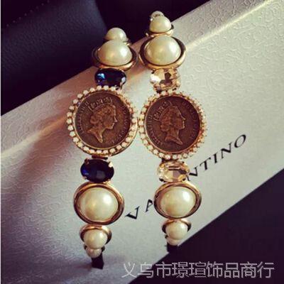 T207 韩国进口DG风复古超美女王头像珍珠宝石发箍珍珠头箍