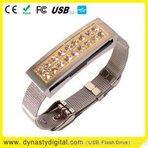 Usb Flash Memory钻石手链U盘 供应旋转手链U盘 华丽水晶钻U盘