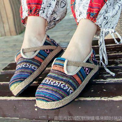 外宿原单民族风麻面大圆头布鞋平跟浅口女鞋单鞋厂家直销代发