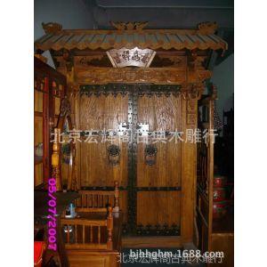 供应室外榆木大门 庭院双开门 中式木门订做 北京四合院门 北京加工厂