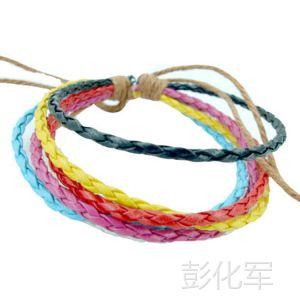 供应混色皮革编织麻花手链 混色编织皮绳手链 皮绳流行手链