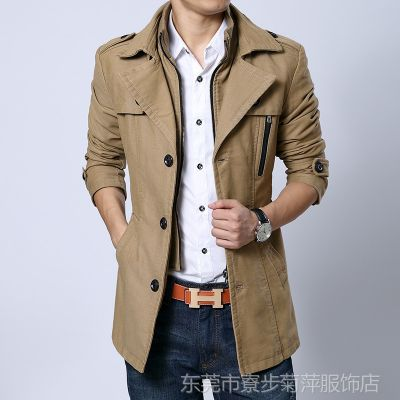 供应批发厂家直销男装 中长款时尚男式风衣 风衣批发 男 Jwpq133516
