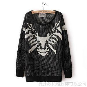 供应厂家直销  2013夏季新款韩版老虎头蜘蛛头套头毛衣针织衫打底衫女