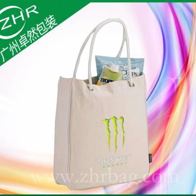 【卓然包装】广州厂家供应定做16安白色加厚帆布袋 日本帆布袋 购物袋 丝印