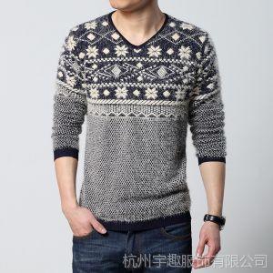 供应2014春装新款男士套头毛衣针织衫马海毛毛线衣男装打底衫