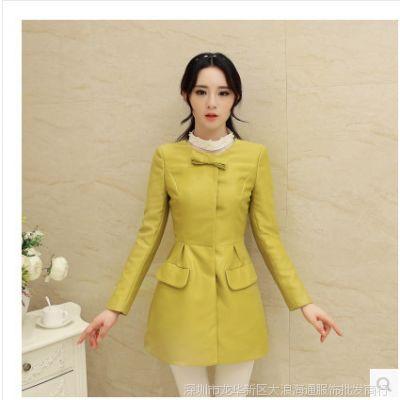 2014秋款装韩国新款韩版大码女装中长款蝴蝶结女式风衣外套女大衣